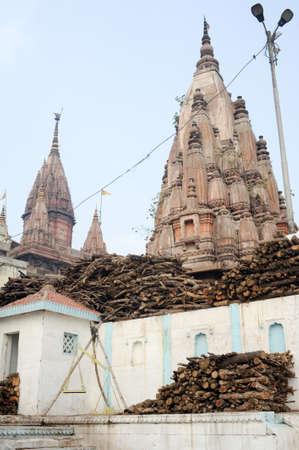 varanasi: Varanasi, India - 28 January 2015: Temple on the Ghats of river Ganges in holy city of Varanasi on India Stock Photo