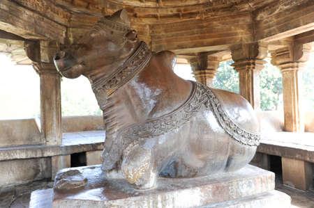 nandi: Nandi sculpture at the Khajuraho temples on India