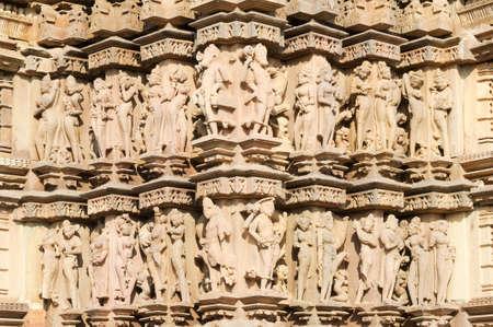 khajuraho: Detail of artwork at the Khajuraho temple on India