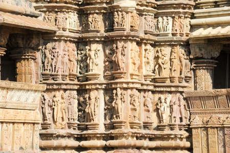khajuraho: Detail of artwork at the Khajuraho temples on India