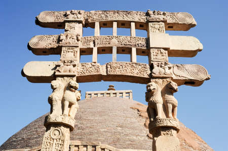 3rd ancient: Detail of the gate at Great Buddhist Stupa in Sanchi, Madhya Pradesh, India