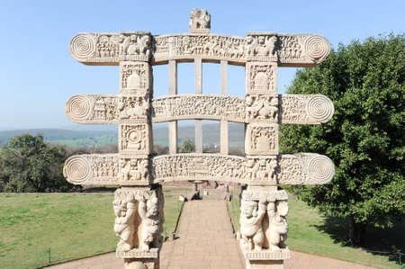 sanchi: Detail of the gate at Great Buddhist Stupa in Sanchi, Madhya Pradesh, India