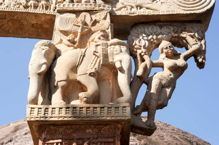 bhopal: Detail of the gate at Great Buddhist Stupa in Sanchi, Madhya Pradesh, India