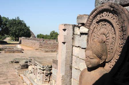 madhya: Statue of Lord Buddha in stupa at Sanchi, Madhya Pradesh, India