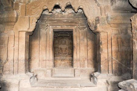 maharashtra: Statue of Buddha on Ellora caves near Aurangabad, Maharashtra state in India