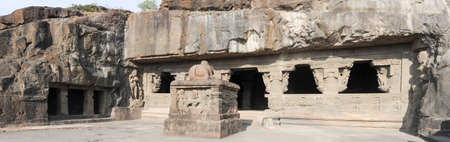 maharashtra: Ellora caves near Aurangabad, Maharashtra state in India Stock Photo