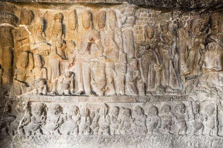maharashtra: Statues on Ellora caves near Aurangabad, Maharashtra state in India
