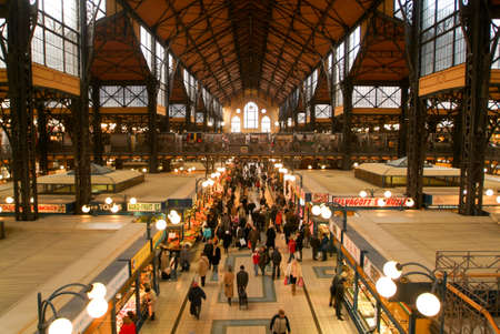 great hall: Budapest, Hungary - 14 January  2005: People shopping in the Great Market Hall who is the largest indoor market in Budapest, built in 1896 Editorial