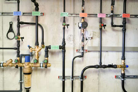 Pipes of heating system in boiler room