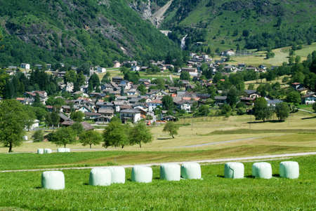 hay bales: Landscape with hay bales at Olivone on the Swiss alps
