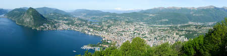 Panorama of the Gulf of Lugano from Mount Bre above the City