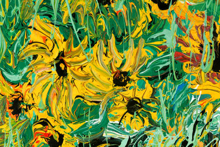 multilayer: Abstract flower painting for background and texture