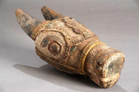 indian buffalo: Indian wooden buffalo head symbol of fertility