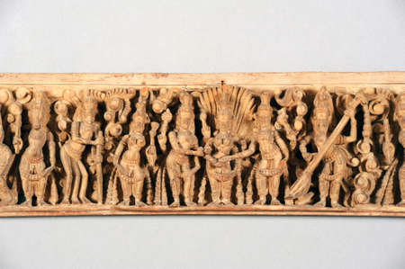frieze: Antique indian wooden frieze isolated