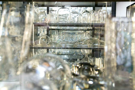 bocal: Group of glassware on a storage room Stock Photo
