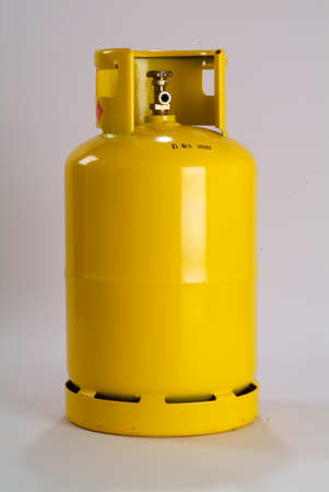 Yellow gas bottle isolated