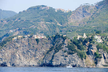 bernardino: The villages of Corniglia and in the top San Bernardino in Cinque Terre, Italy