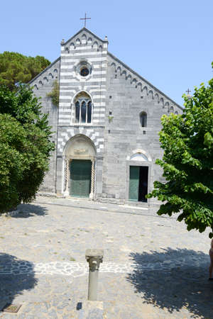 lawrence: The Romanesque church of St. Lawrence (erected in 1098, restored in 1582). Portovenere town , Liguria, Italy
