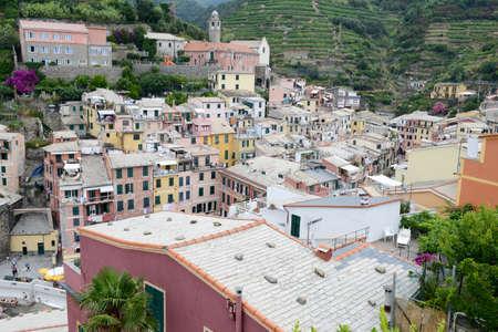 vernazza: Scenic view of colorful village Vernazza in Cinque Terre, Italy Stock Photo