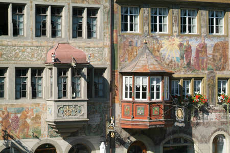 rhein: Detail of a medieval house of Stein am Rhein on Switzerland