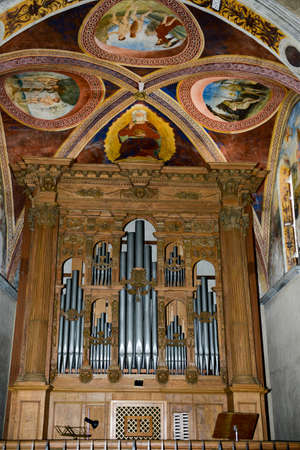 bible altar: Interior of Saint Maria church at Morcote on Switzerland Editorial
