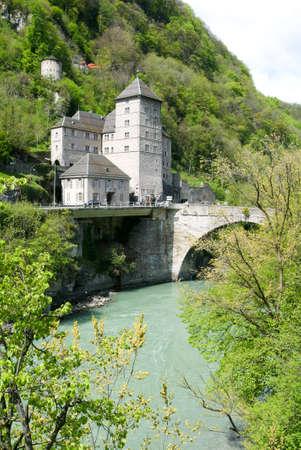 valais: Saint-Maurice (Valais, Switzerland) - ancient castle Dufour and river