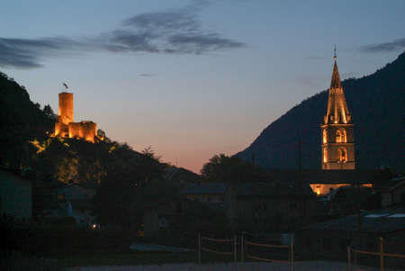 visitation: Fort Bâtiaz and Notre-Dame de la Visitation church at Martigny, Switzerland