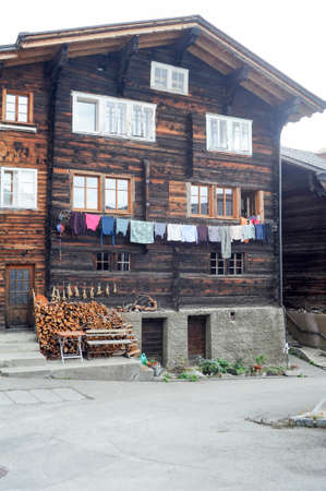 chalet: Rural chalet at Geschinen on the Swiss alps Stock Photo