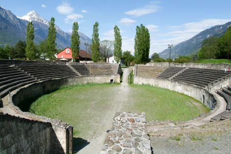 singularity: Roman amphitheater in Martigny, Switzerland