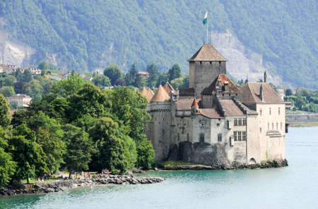 chillon: The castle of Chillon in Montreux, Switzerland