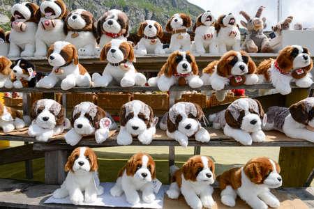 bernard: Plush dog Saint Bernard at a market on mount St. Gotthard