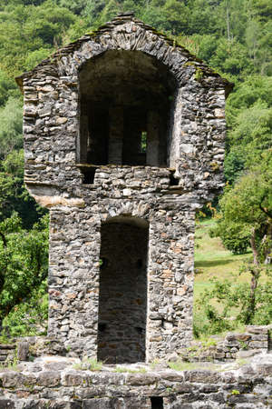 abandonment: Ruins of Serravalle castle at Semione on Blenio valley on the Swiss alps