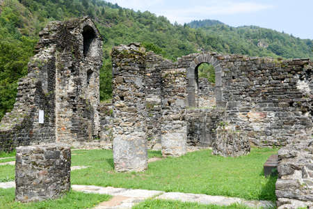 leaden: Ruins of Serravalle castle at Semione on Blenio valley on the Swiss alps