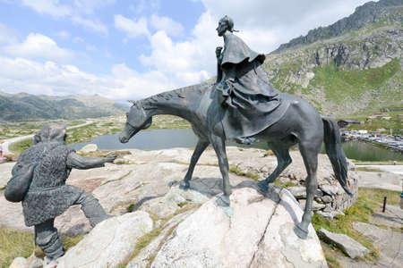 singularity: The equestrian statue of General Suvorov on Gotthard pass, Switzerland Stock Photo