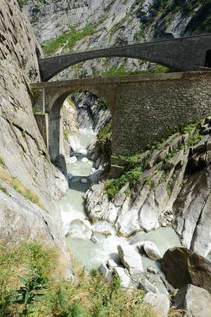 singularity: Devils bridge at St. Gotthard pass on the Swiss alps