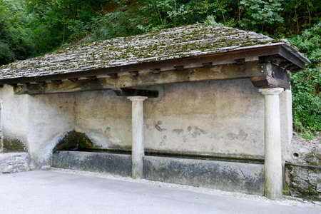 washhouse: Old washhouse at the village of Muggio on Muggio valley, Switzerland