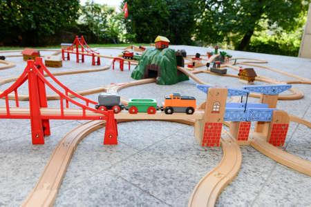 wood railroad: Wooden train set on a garden