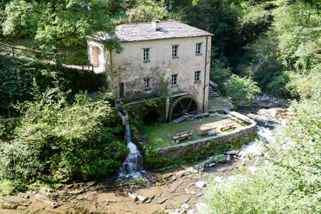 mill valley: The old mill of Bruzella on Muggio valley, Switzerland Stock Photo