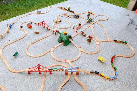 wood railroads: Wooden train set on a garden