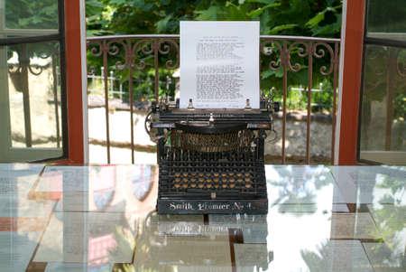 hesse: Montagnola, Switzerland - 28 June 2007: original typewriter at Hermann Hesse museum in Montagnola, where famous poet and writer 1931-1962 lived.
