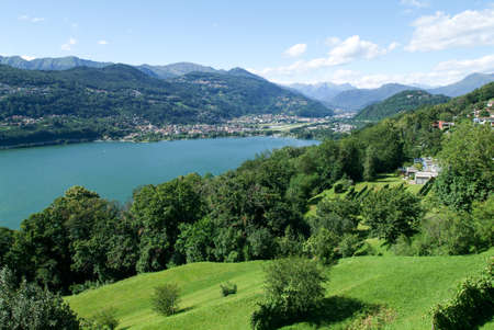 collina: The bay of lake Lugano at Agno view from Collina doro on Switzerland Stock Photo