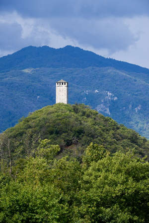 orta: Buccione Tower on Orta Lake, Piedmont, Italy Stock Photo