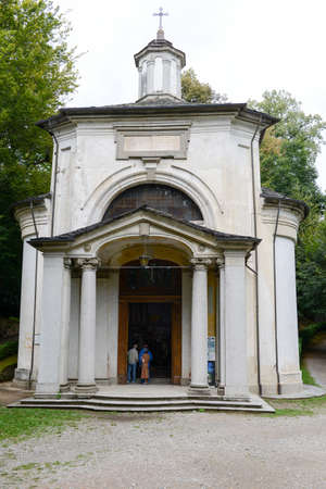 orta: Orta, Italy - 5 September 2015: People visiting on walking the Sacred Mount Orta on Piedmont, Italy Editorial