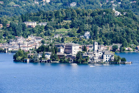 orta: The island of San Giulio on lake Orta, Italy