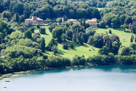 orta: Villas with gardens on lake Orta, Italy Stock Photo