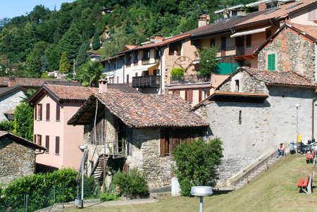 collina: Houses at the old village of Arasio on the italian part of Switzerland Editorial