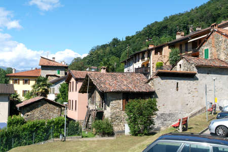 collina: Arasio, Switzerland. Houses at the old village of Arasio on the italian part of Switzerland Stock Photo