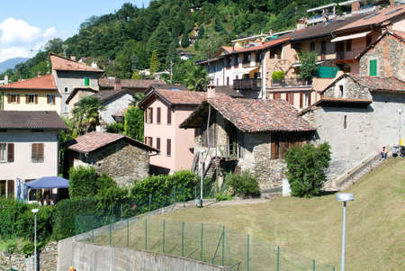 collina: Houses at the old village of Arasio on the italian part of Switzerland Stock Photo