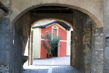 collina: Chapel at the old village of Bigogno on the italian part of Switzerland Stock Photo