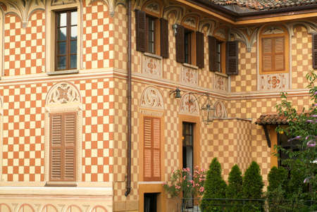 collina: Detail of a house at the village of Certenago on the italian part of Switzerland